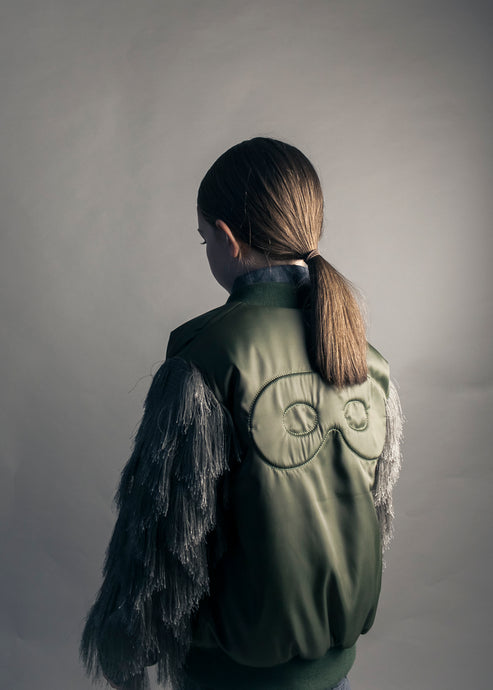 Bomber with fringed sleeves, Green, Hero Mask & X