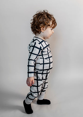 Baby Long Sleeve T-shirt, Natural, Grid AOP