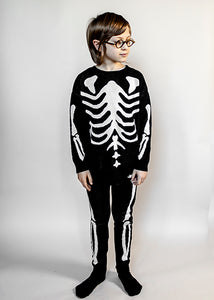 Knit Tracked Suit Sweater, Black, Skeleton