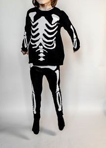 Knit Tracked Suit Pants, Black, Skeleton