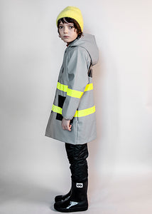 Boxy Rain Coat, Grey with Yellow stripes