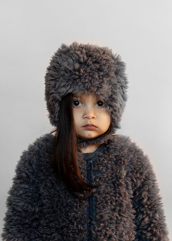 Baby Fur Hat, Quiet grey