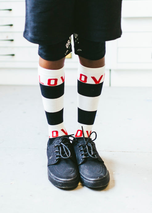 Knee High Socks Black Natural Stripe