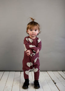 Grape Raglan Heart Baby Romper