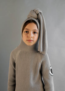 Stone Ribbed Top Knot Hooded Sweater
