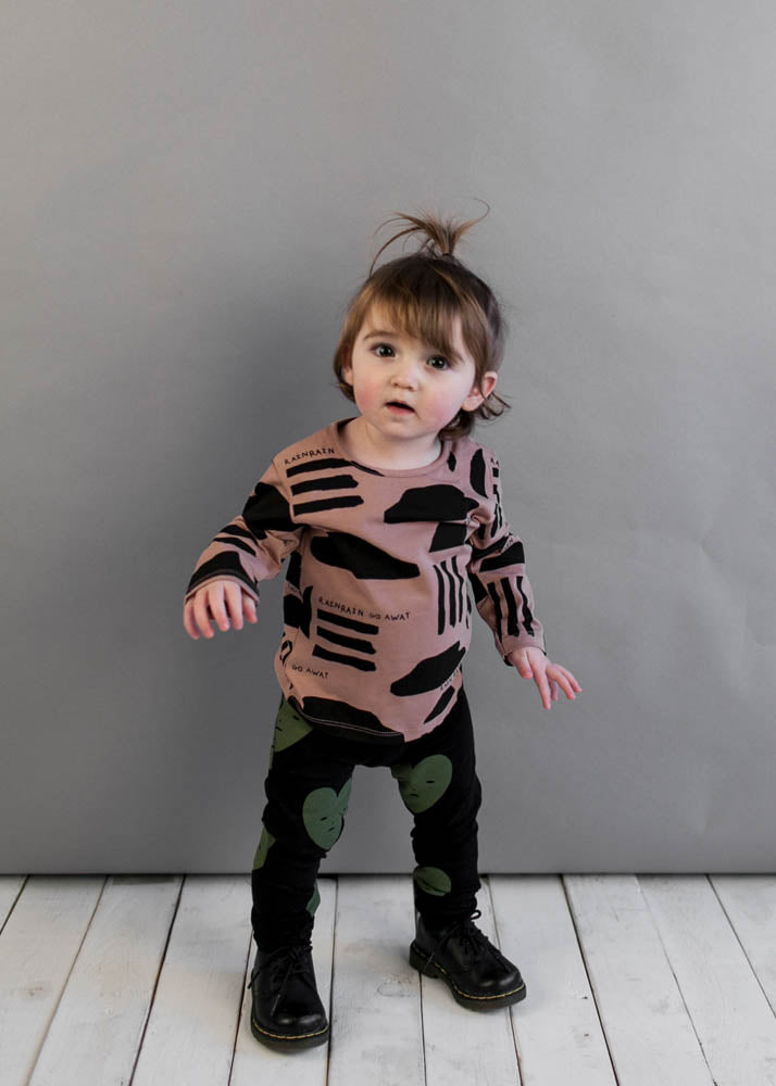 Washed Redwood Rain Print Baby/Toddler Long Sleeve T Shirt