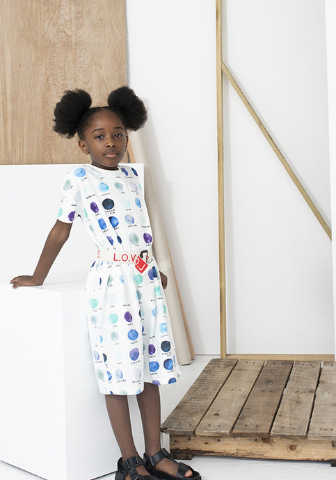 T Shirt Dress Natural Paint Dots