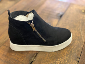 Black Suede Women's Wedge Sneakers