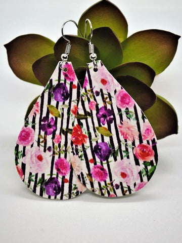 Floral Stripe Teardrop Earrings