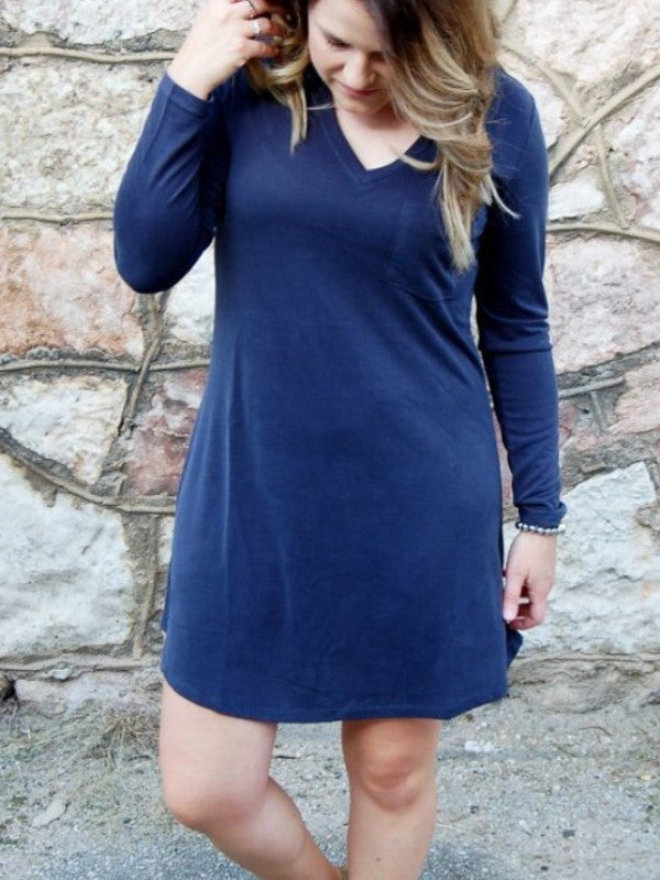 another love katie long sleeve pocket tshirt dress
