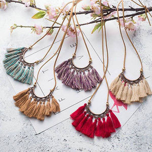 Boho leather tassel necklace
