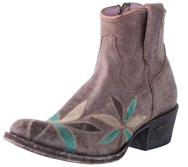 Miss Macie Womens Brown Leather Pedal Pusher Flower Fashion Boots
