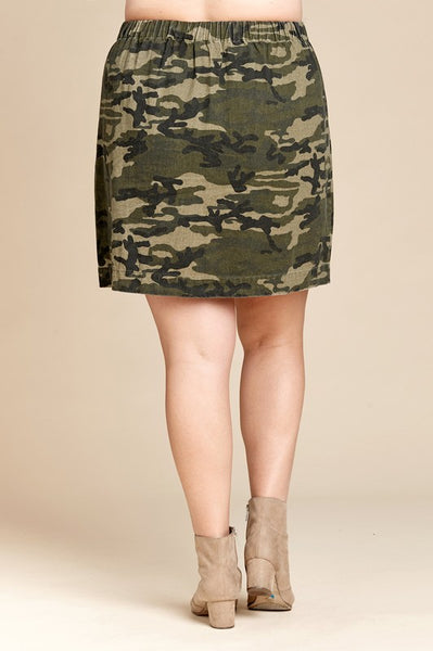 Plus Size Camoflauge Mini Skirt