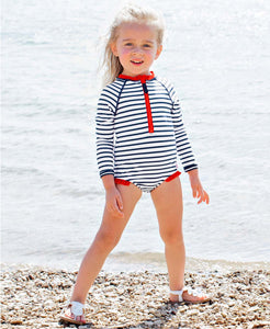 RuffleButts Girls' Navy Stripe Long Sleeve One Piece Rash Guard