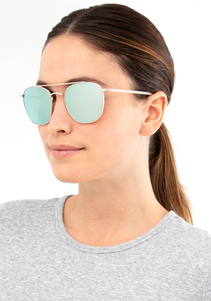 AUDUBON | Rose Gold + Aqua Mirror Polarized Handcrafted, Titanium Sunglasses