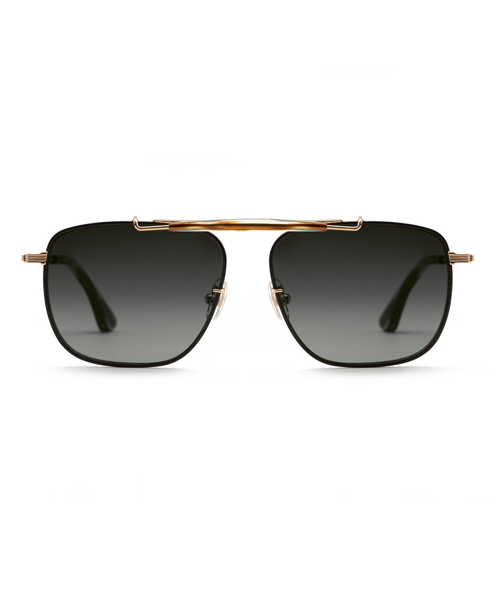 AVALON | 24K + Matte Black + Oak Polarized Handcrafted, Titanium Sunglasses
