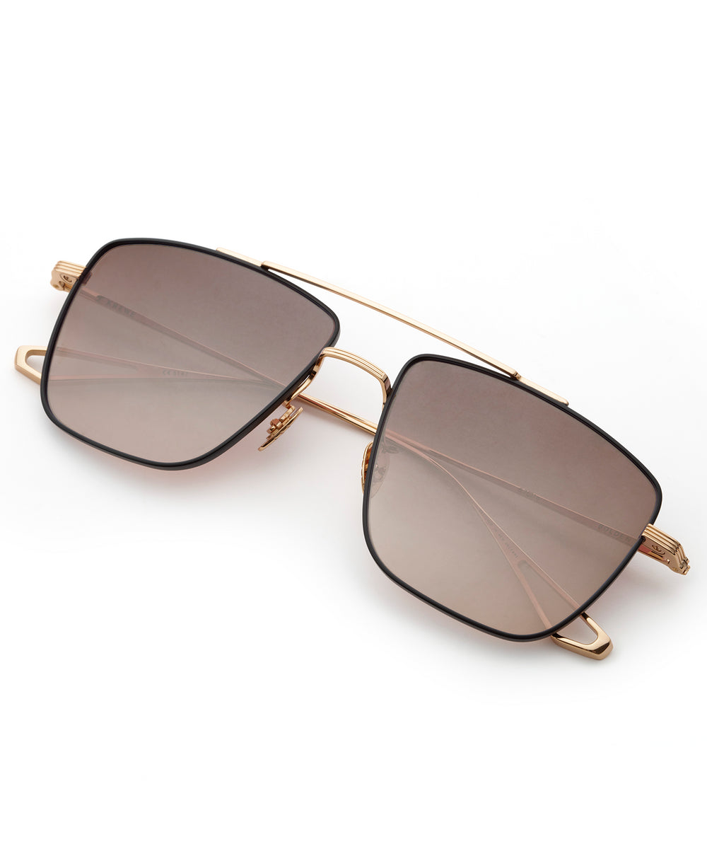 BOLDEN | 24K + Matte Black Mirrored Handcrafted, Titanium Sunglasses