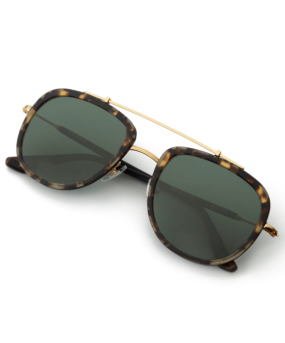 BRETON | Matte Brindle to Black + 18K Polarized Handcrafted, Acetate Sunglasses