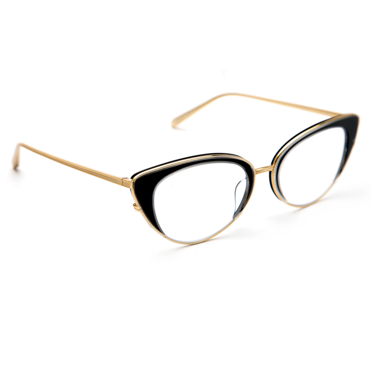 CLARA | Crystal and Black + 18K Titanium and handcrafted acetate cat-eye Optical frames.