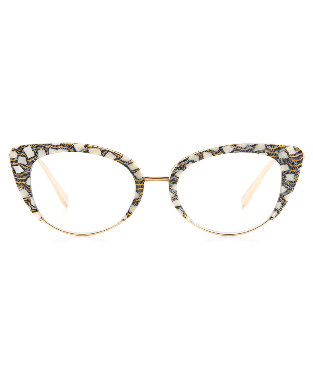 CLARA | Stella + 24K Titanium and handcrafted acetate cat-eye Optical frames.