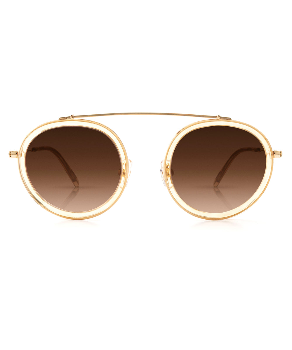 CONTI | Champagne 24K | round acetate Sunglasses with a unique 24K gold brow bridge