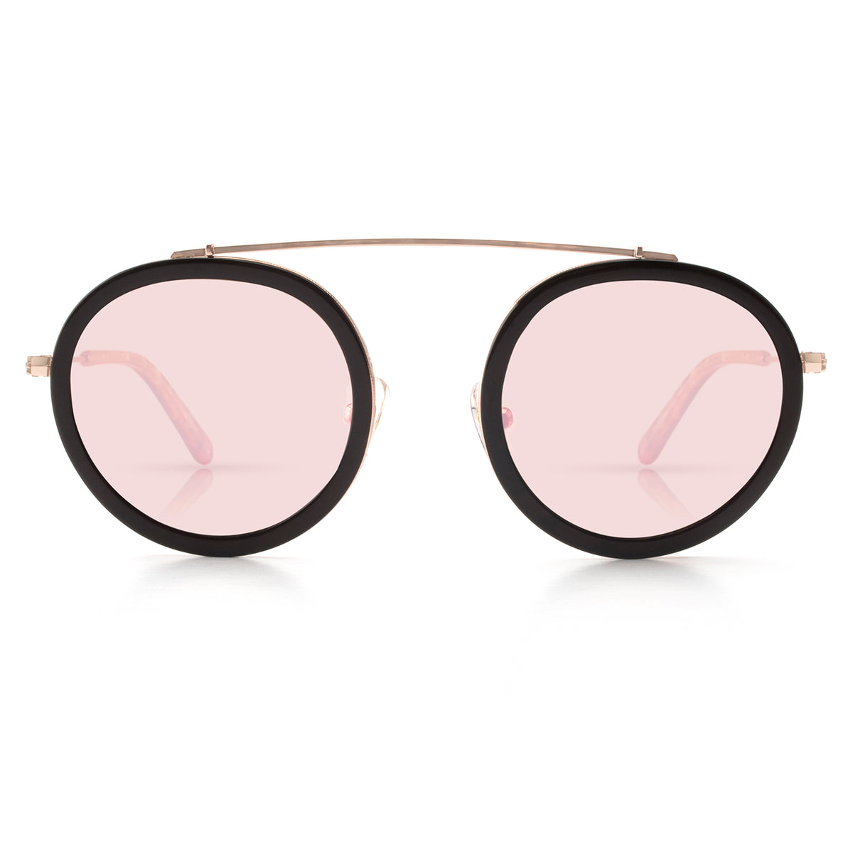 CONTI | Mystic Rose Gold | round acetate Sunglasses with a unique 24K gold brow bridge