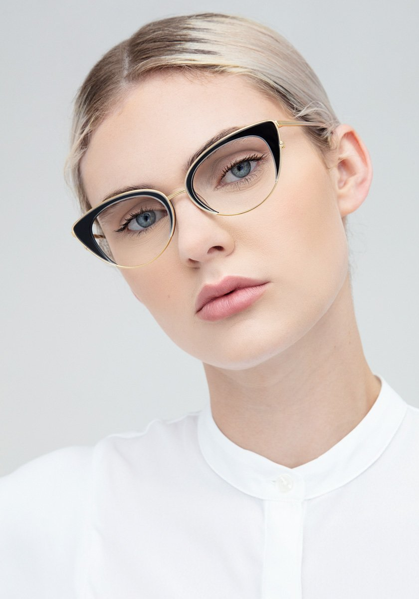 CLARA | Crystal and Black + 18K Titanium Handcrafted, Titanium Frames