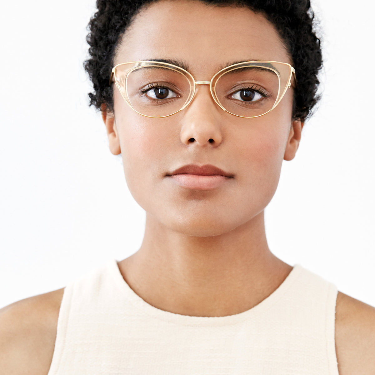 CLARA | Champagne + 18K Titanium and handcrafted acetate cat-eye Optical frames.