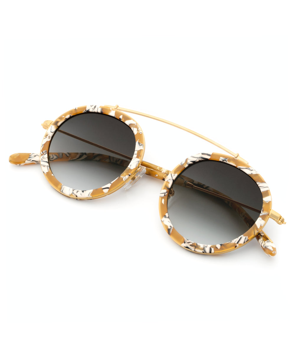 CONTI | Butterscotch 24K | round acetate Sunglasses with a unique 24K gold brow bridge
