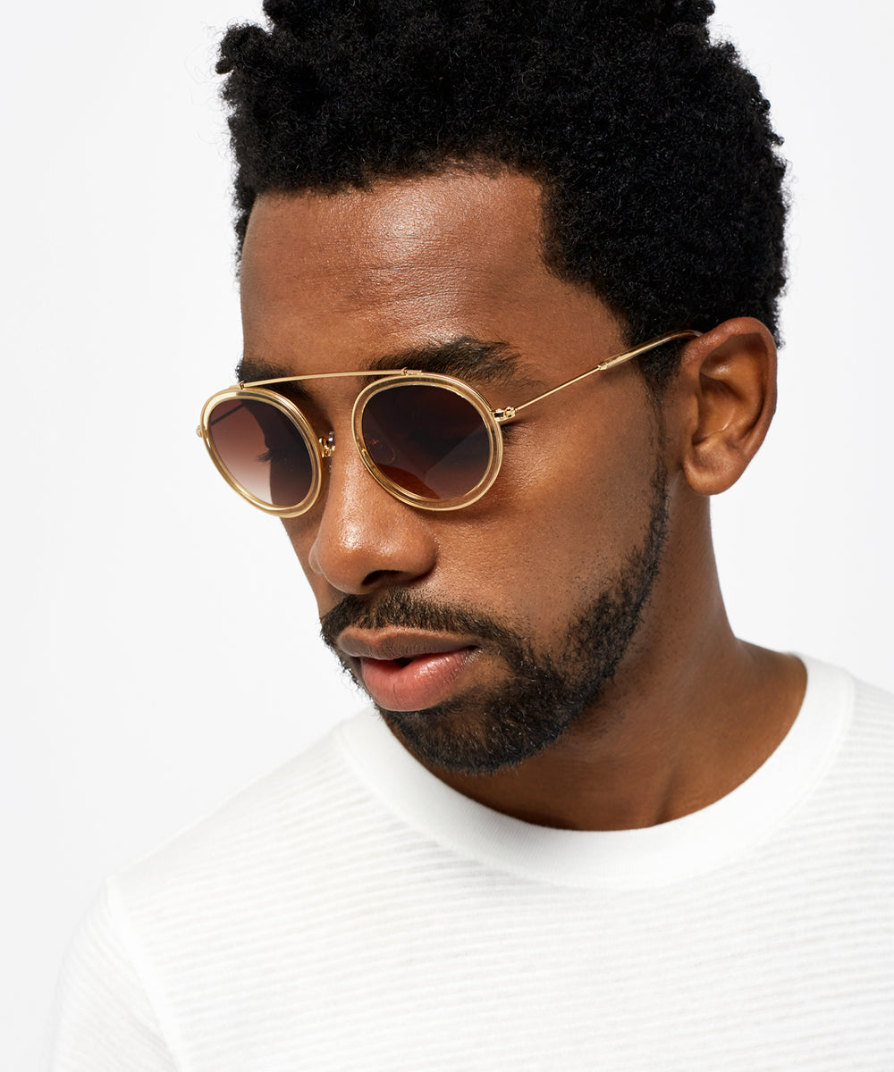 CONTI | Champagne 24K | round acetate Sunglasses with a unique 24K gold brow bridge | Mens | Featured Model