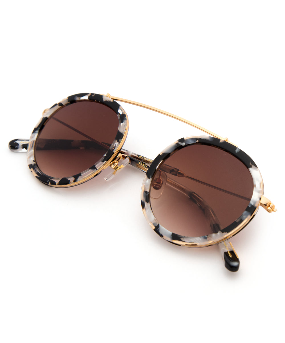 CONTI | Interstellar 24K | round acetate Sunglasses with a unique 24K gold brow bridge
