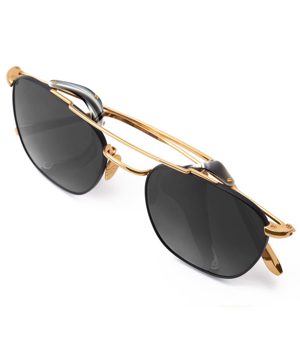 EARHART BLINKER | Matte Black + Bone 24K Handcrafted, Acetate Sunglasses