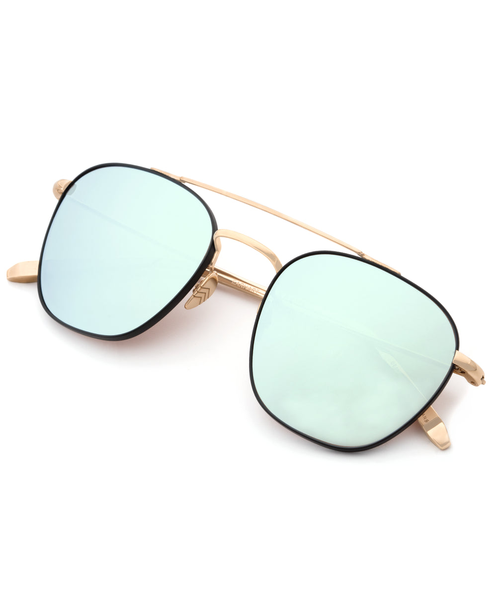 EARHART | Matte Black + 24K Titanium Mirrored Handcrafted, Acetate Sunglasses