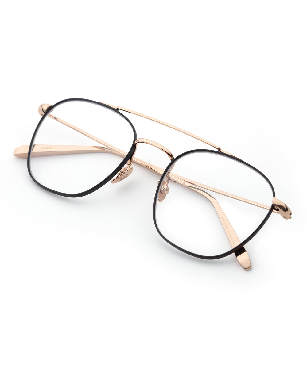 EARHART OPTICAL | Rose Gold + Matte Black Handcrafted, Titanium Frames