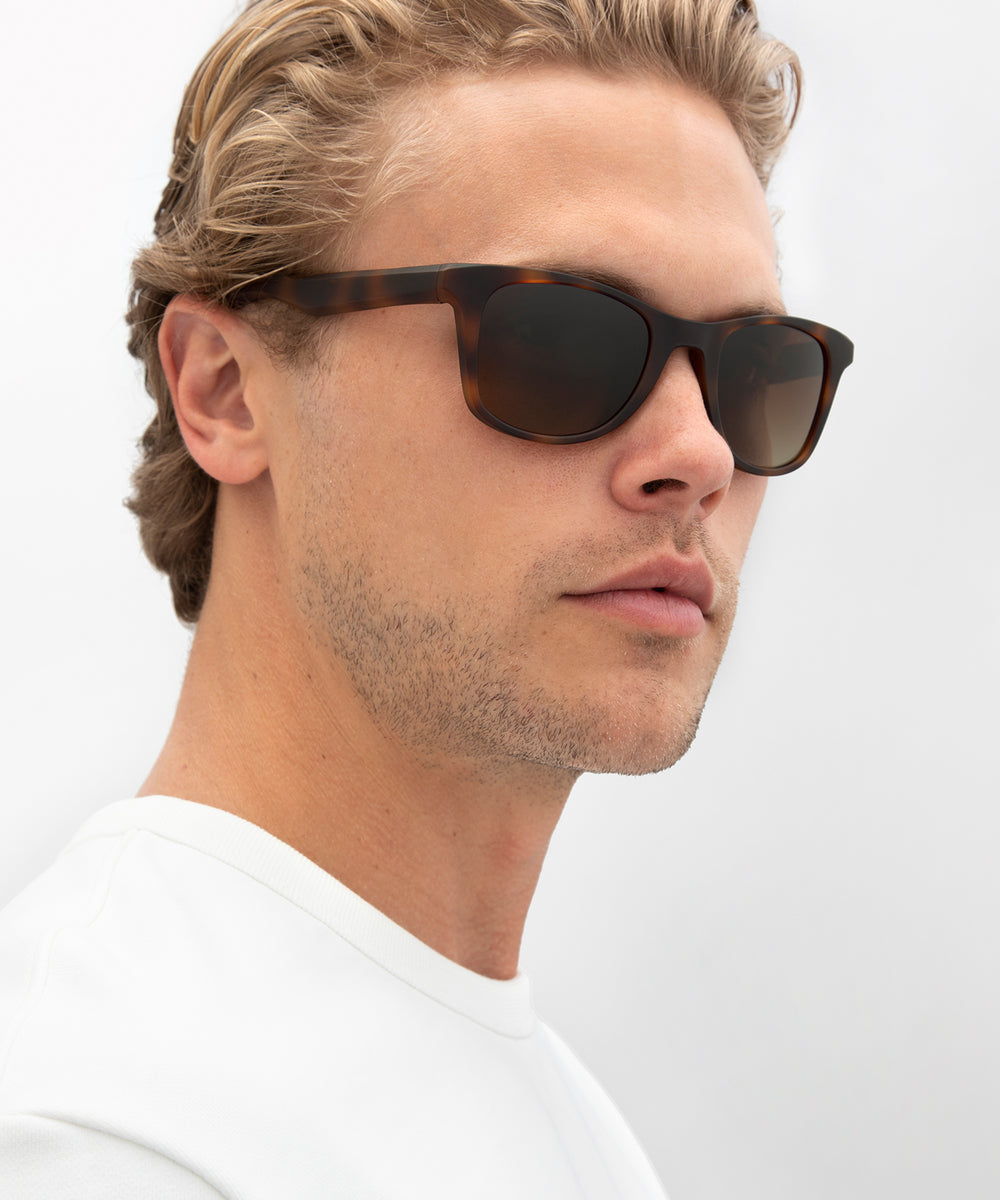 EMMETT | Matte Bay Tortoise Polarized Hand-Painted, Bio-Plastic Sunglasses | Featured Model | Mens Active