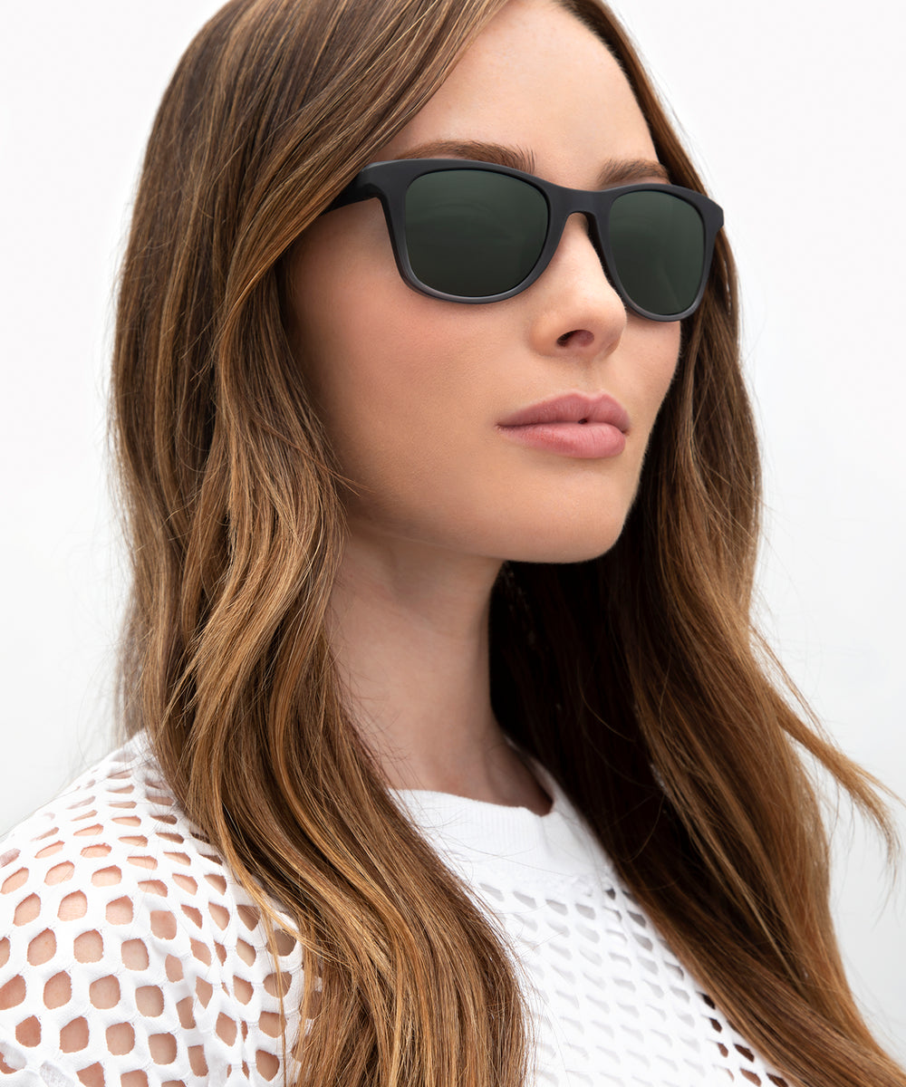 EMMETT | Matte Black to Ice Polarized Hand-Painted, Bio-Plastic Sunglasses | Featured Model | Womens Active