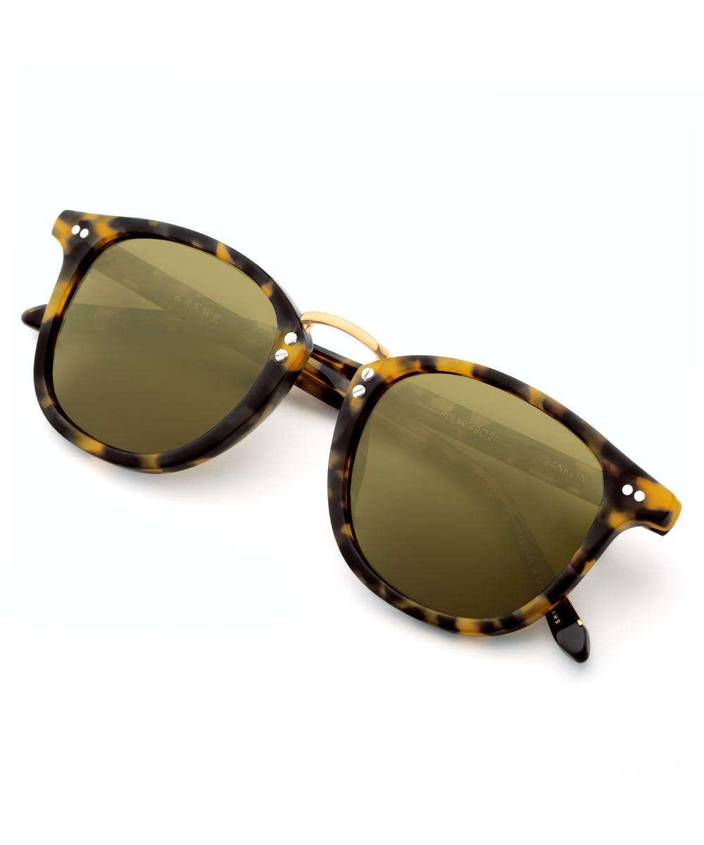 FRANKLIN | Blonde Tortoise Polarized 24K | Handcrafted acetate wayfarer Sunglasses with a 24K gold bridge.