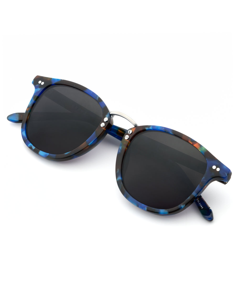 FRANKLIN | Blue Steel | Handcrafted acetate wayfarer Sunglasses with a 24K gold bridge.