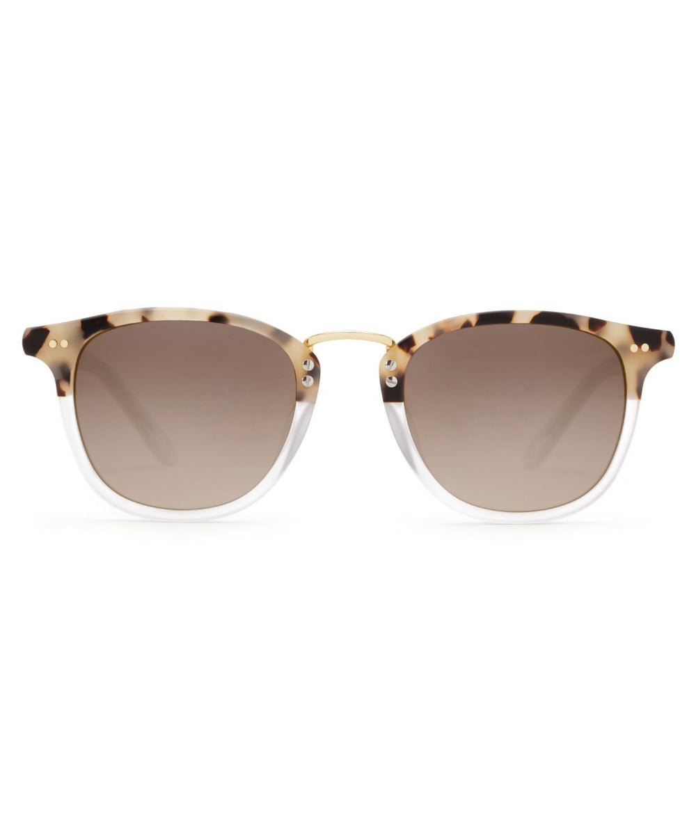 FRANKLIN | Matte Oyster to Crystal 24K Mirrored Handcrafted, acetate frames