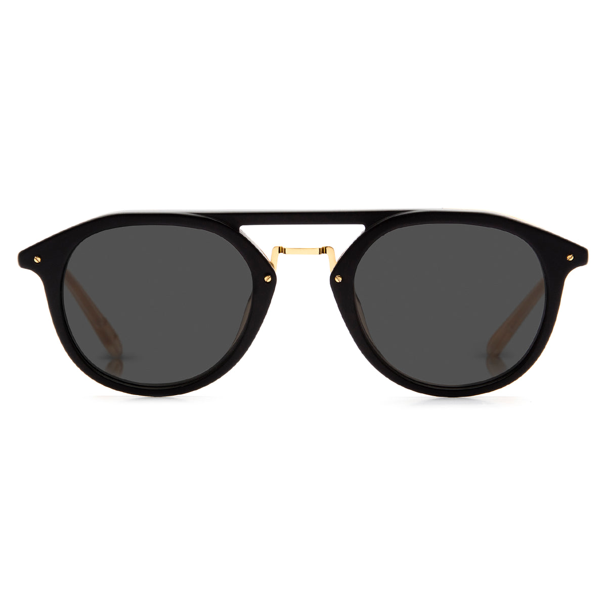 GRAVIER | Matte Black Polarized 24K | Handcrafted acetate aviator Sunglasses with 24K gold detailing.