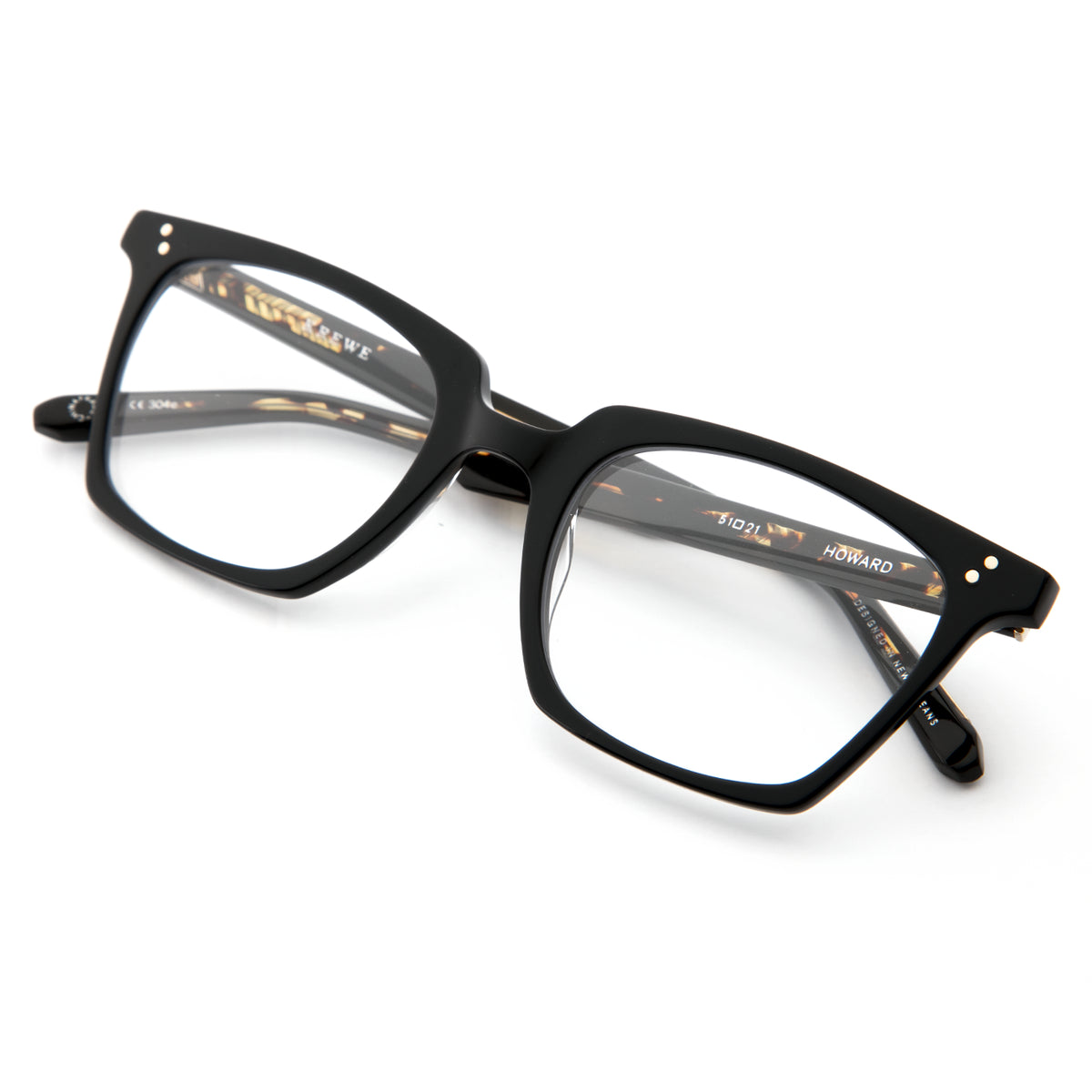 HOWARD | Black | Handcrafted acetate Optical frames.