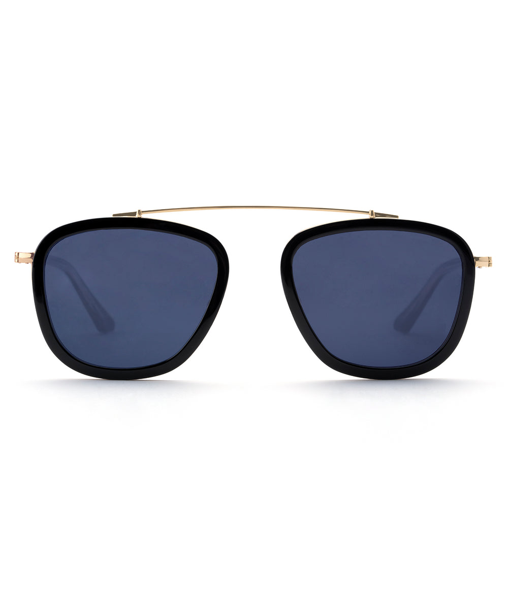 HUEY | Black and Crystal 24K handcrafted acetate sunglasses