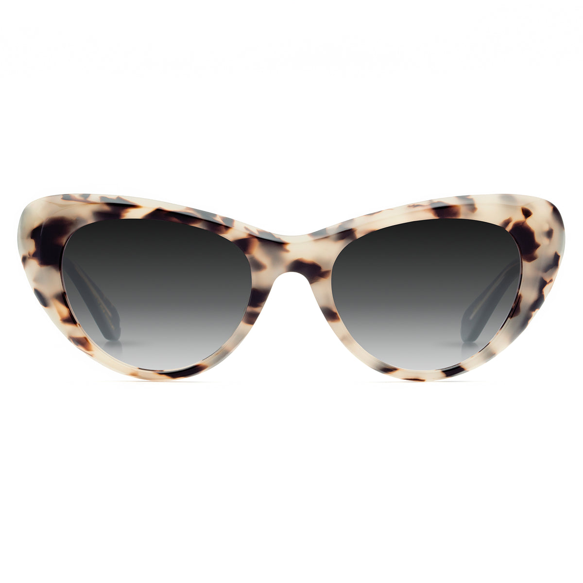 IRMA | Oyster + Black and Crystal | Acetate futuristic cat-eye Sunglasses.