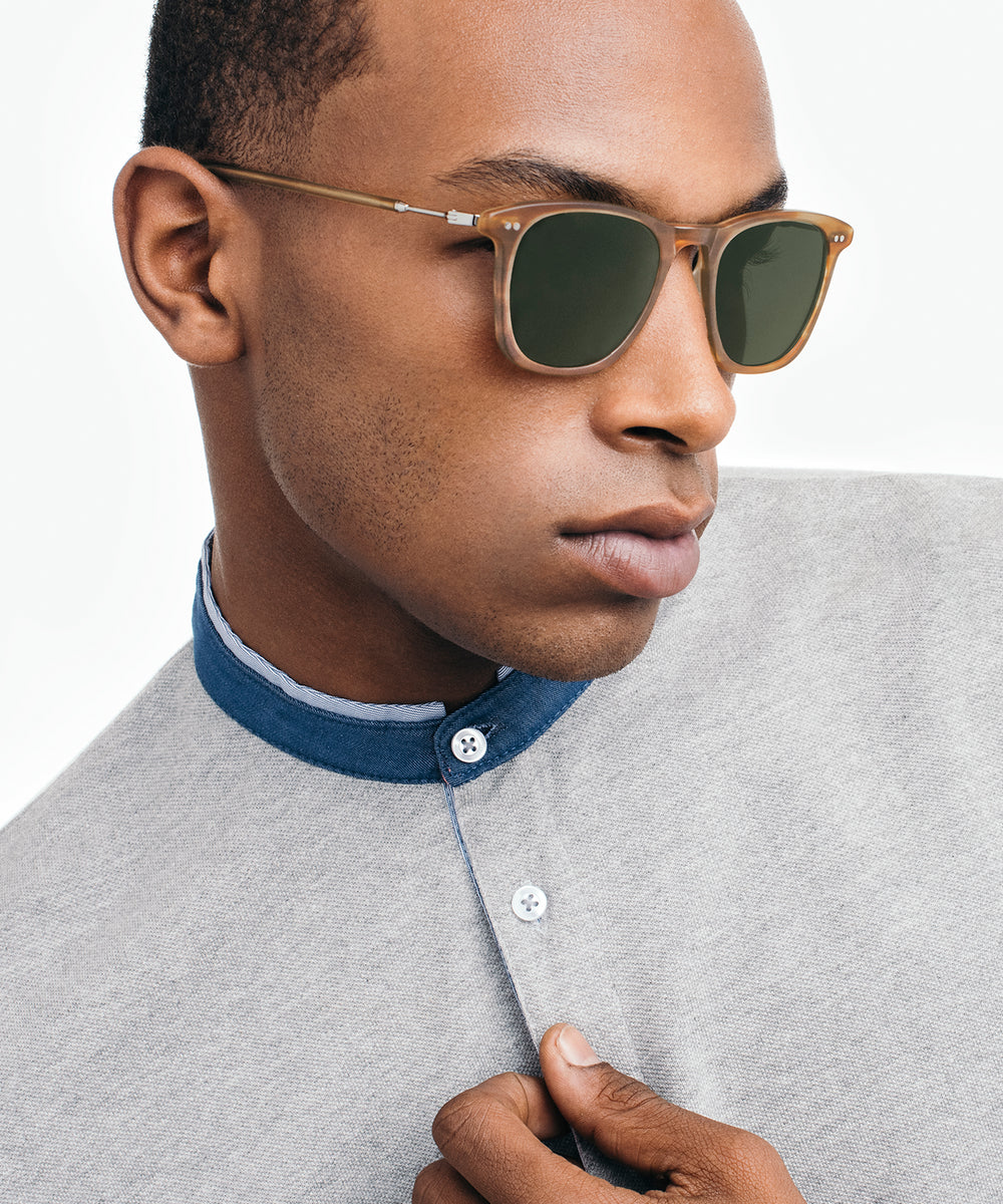 JACKSON | Matte Willow + Silver Titanium Handcrafted, Acetate Sunglasses | Featured Model | Mens
