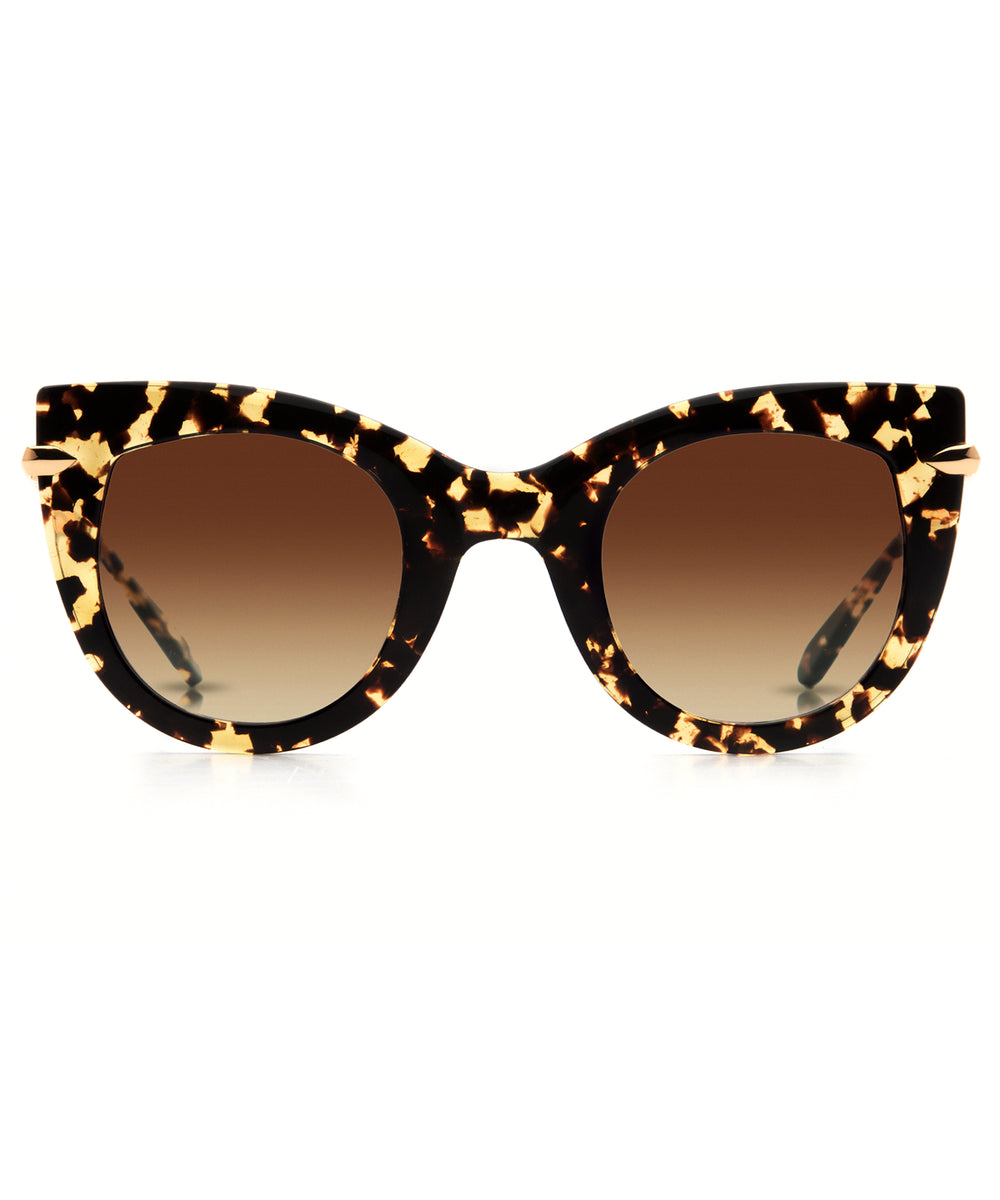 LAVEAU | Zulu 24K- Handcrafted oversized acetate cat-eye Sunglasses with 24K gold detailing.