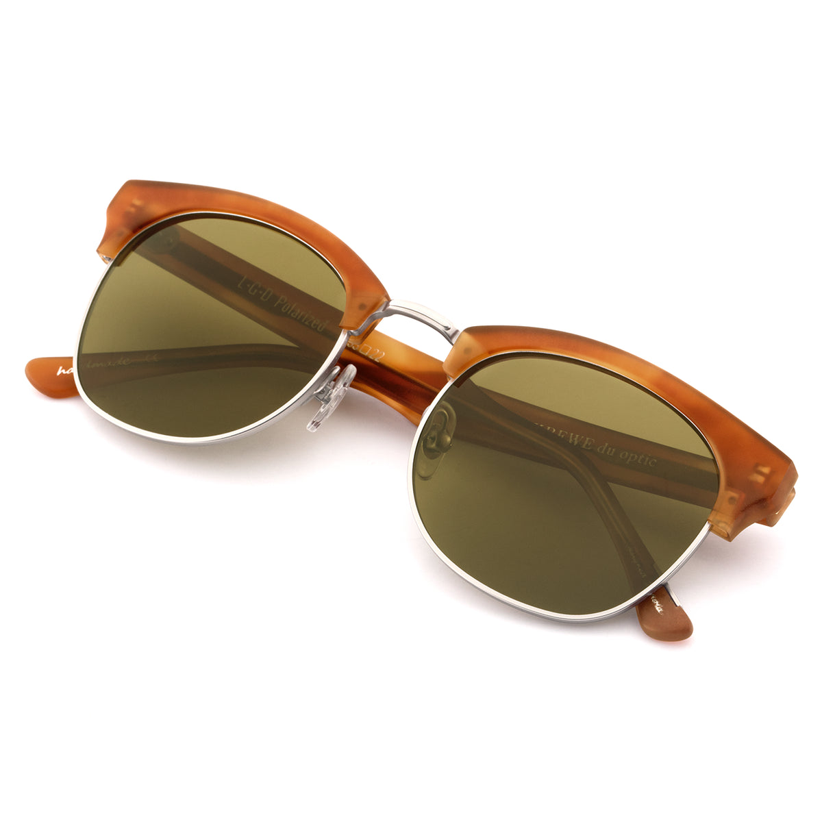 L.G.D. | Matte Tobacco Polarized - Retro clubmaster Sunglasses hand carved from acetate.