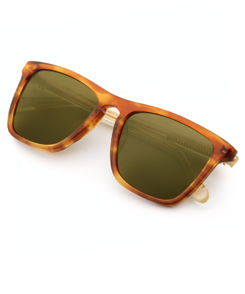LAFITTE | Tobacco + Champagne Polarized- Handcrafted acetate wayfarer Sunglasses.