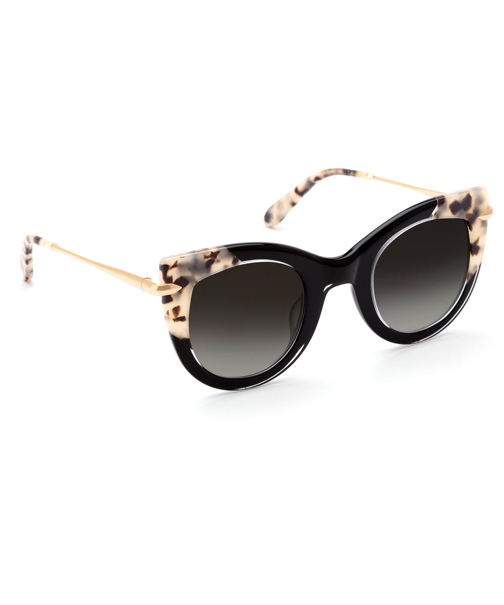 LAVEAU | Black and Crystal to Oyster 24K- Handcrafted oversized acetate cat-eye Sunglasses with 24K gold detailing.