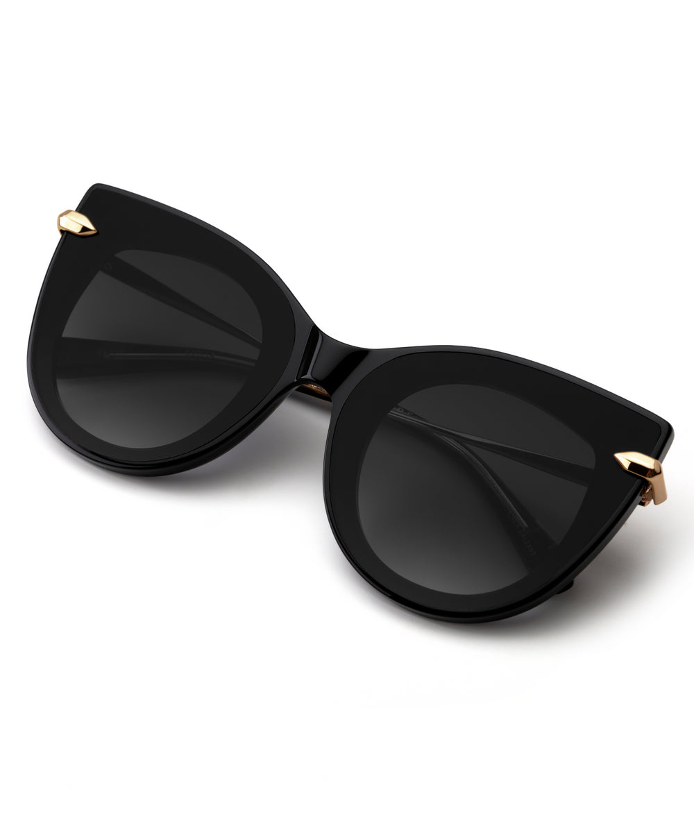 LAVEAU NYLON | Black and Crystal Handcrafted, Acetate Sunglasses