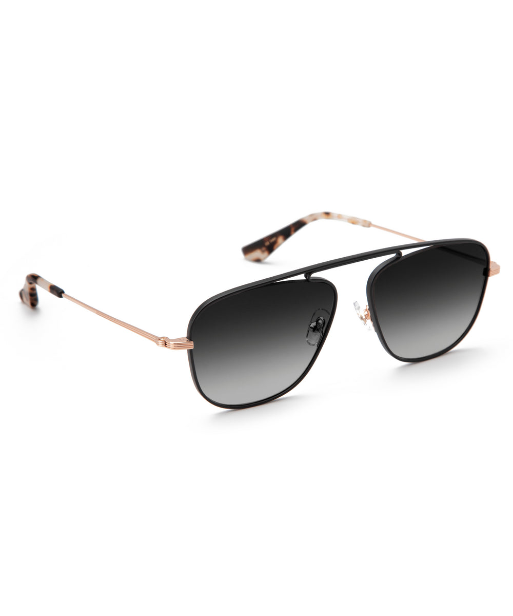 LEON | Rose Gold + Matte Black + Malt Handcrafted, Titanium Sunglasses